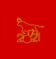 gold bull on red background chinese new year 2021 vector image