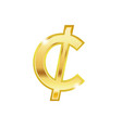 golden cent symbol isolated on white background vector image