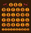 halloween pumpkin font alphabet text symbols vector image vector image