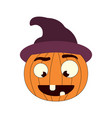 halloween pumpkin in witch hat vector image