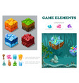 isometric game landscape infographic concept vector image