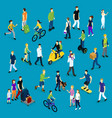 Isometric Social Crowd Template vector image vector image