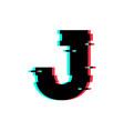 logo letter j glitch distortion vector image