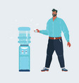 man near water cooler driking water on white vector image