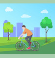 man riding bike on nature vector image vector image