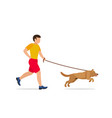 man walking or running with a dog vector image vector image