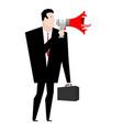 megaphone boss businessman and loudspeaker to vector image