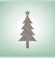 new year tree sign brown flax icon on vector image vector image