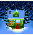 Night Christmas house vector image vector image