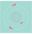 Origami paper plane and world globe Dash line vector image vector image