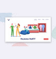 pajama party landing page template characters vector image