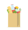 paper bag package with food and drink products vector image vector image