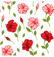 pattern with pink and red hibiscus flowers vector image