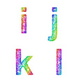 Rainbow sketch font set - lowercase letters i j k vector image vector image