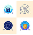 robot vacuum cleaner icon set in flat and line vector image vector image