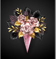 roses in rose gold waffle horn vector image vector image