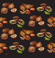 seamless pattern with colored cartoon nuts on dark vector image vector image