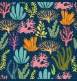 seaweed seamless pattern sea plants marine vector image