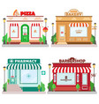 set front facade buildings bakery barbershop vector image