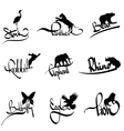 set of animals silhouette with lettering vector image