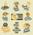 set of summer emblems with palms for emblem sign vector image vector image