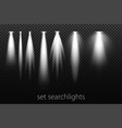 set of white searchlights on a transparent vector image vector image