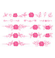 set pink hand drawn roses flowers vector image