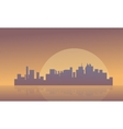 Silhouette of buildings and big moon vector image vector image