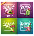spring sale set square discount banners with vector image