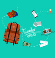 tourism of the backpack traveler with fast travel vector image