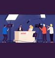 tv studio news journalists stage desk tv vector image vector image