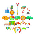 vehicle icons set cartoon style vector image vector image