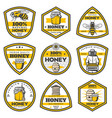 vintage yellow honey emblems set vector image