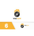 vinyl and real estate logo combination vector image