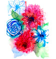 watercolor floral purple and pink bouquet on white vector image