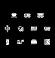 white glyph style icons for railway vector image vector image