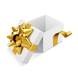 white open gift present box with gold bow vector image