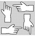 white silhouette of hand with pointing in various vector image