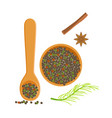 wooden bowl and spoon of peppercorns herbs and vector image vector image