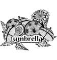 decorative image of umbrellas in cartoon style vector image