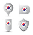 set of stikers andmap pointer with south korea vector image
