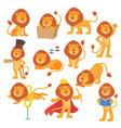 lion mascot pose happy cartoon cute wild vector image