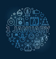 1 january new year modern blue outline vector image vector image