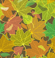 Autumn pattern with fallen leaves dark version vector image