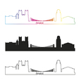 Bristol skyline linear style with rainbow vector image vector image