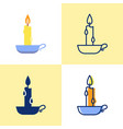 burning candle in a holder icon set in flat and vector image vector image