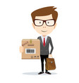 businessman looking at camera and carrying heavy vector image vector image