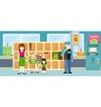 Buyers Standing Near Storage Shelf in Supermarket vector image vector image