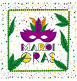 carnival mardi gras poster with green necklace vector image