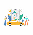 carsharing smartphone app with map interface and vector image